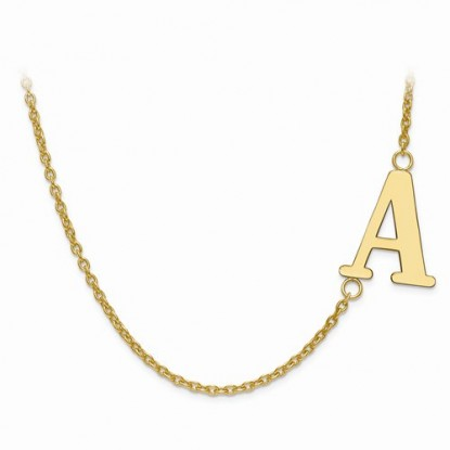 Gold-Plated Sterling Silver Offset Sideways Laser-Cut Letter Initial Necklace