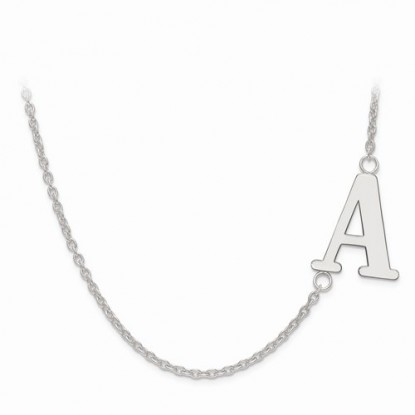 Offset Sideways Laser-Cut Letter Initial Sterling Silver Necklace
