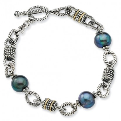 Cultured Black Pearl Sterling Silver Toggle Bracelet