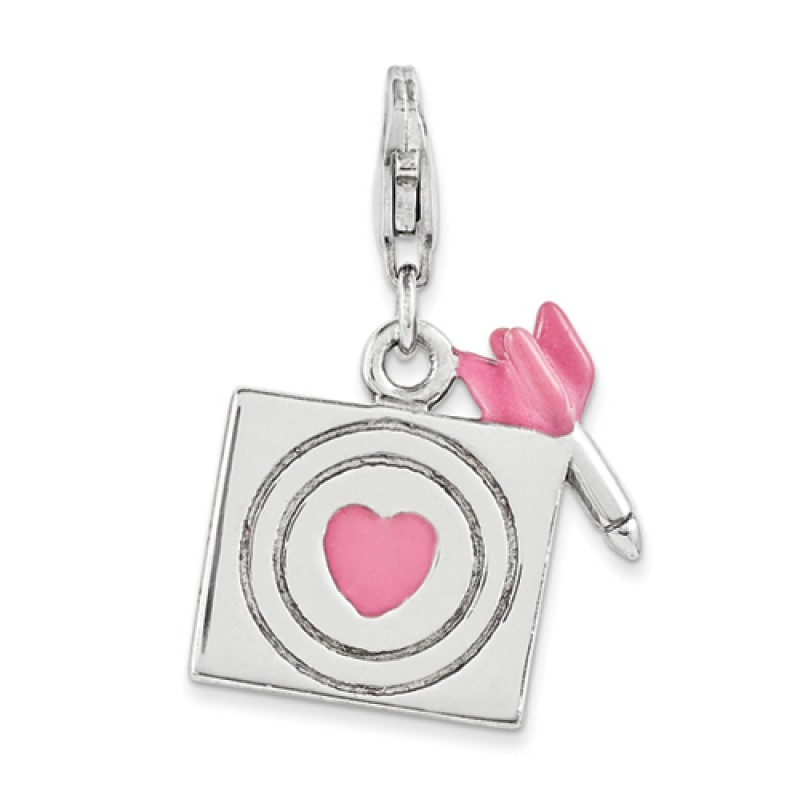 Sterling silver pink dart and heart bullseye charm with lobster clasp 2 4 days amore la vita sterling silver enameled pink dart and heart bullseye charm altavistaventures Images