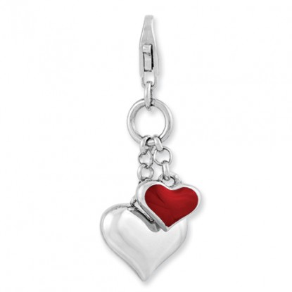 Amore La Vita Two Chained Hearts Sterling Silver Lobster Clasp Charm