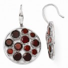 Round Garnet Cobblestone Sterling Silver Dangling Earrings