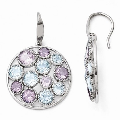 Round Blue Topaz Amethyst Cobblestone Sterling Silver Dangle Earrings