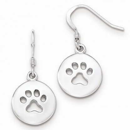 Animal Paw Print Cut Out Sterling Silver Earrings