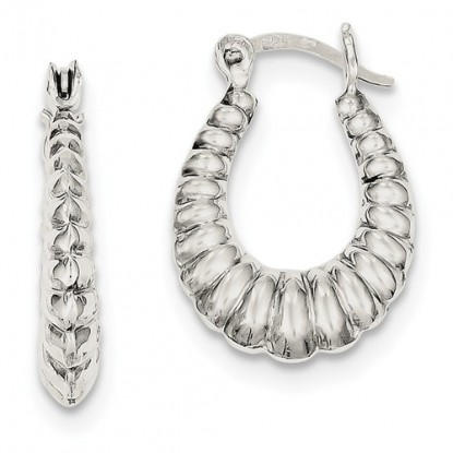 Ribbed Hoop Sterling Silver Shrimp Earrings