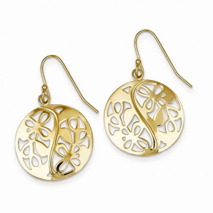Pierced Cutout Circle Flower Dangle Earrings Gold Plated Sterling Silver