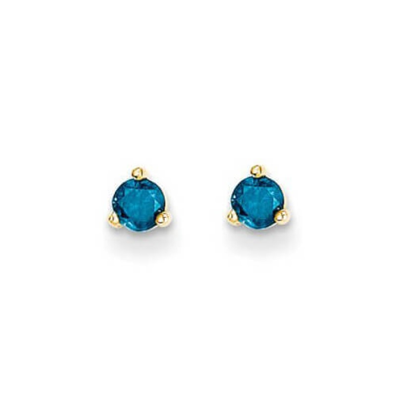 4mm Blue Diamond 14k Stud Earrings