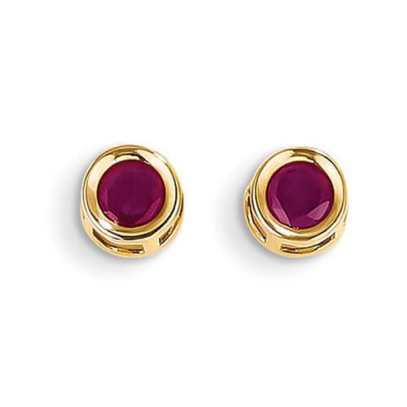 Round Bezel Set 14k Yellow Gold Ruby Post Earrings