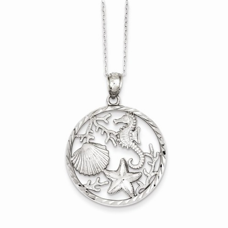 Sterling Silver Seahorse Starfish And Shell Pendant Necklace