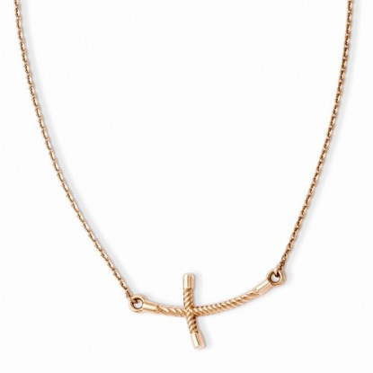 Large 14k Rose Gold Sideways Cross Necklace with Curved Twist Cross