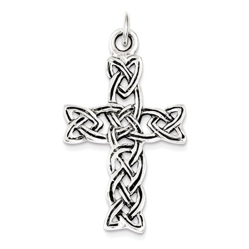 Sterling Silver Trinity Knot Celtic Cross Pendant