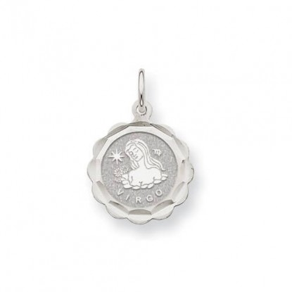 14k White Gold Engravable Virgo Zodiac Scalloped Disc Charm