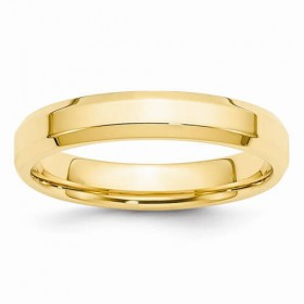 14K Yellow Gold Bevel Edge 4mm Comfort Fit Wedding Band