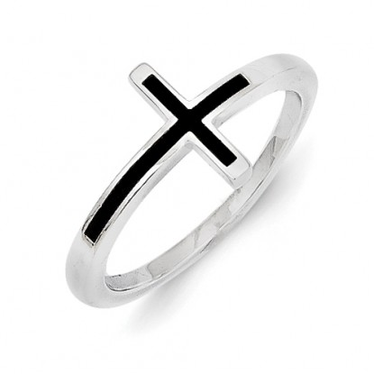Antiqued Sterling Silver Sideways Cross Ring