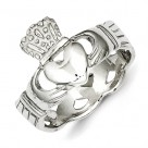 Sterling Silver Claddagh Ring with Open Pierced Band
