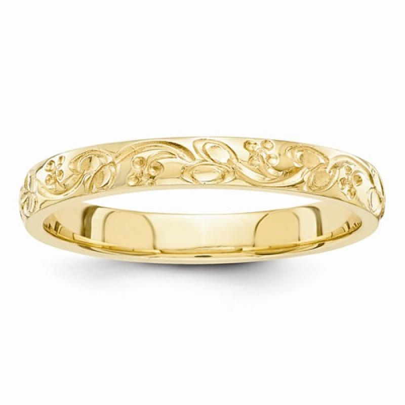 Yellow Gold Hand Engraved Floral Scroll 3mm Wedding Band