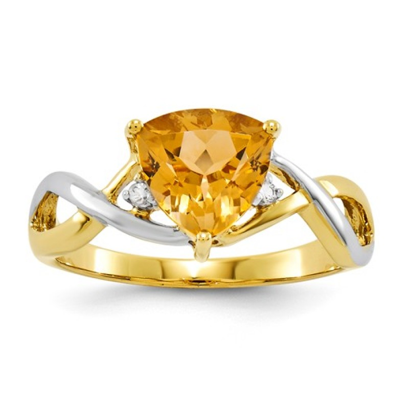 Trillion Ring In Two Tone 14k Yellow Gold