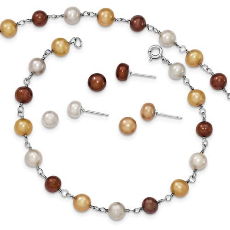 Freshwater Cultured Pearl Necklace Bracelet Earring Set