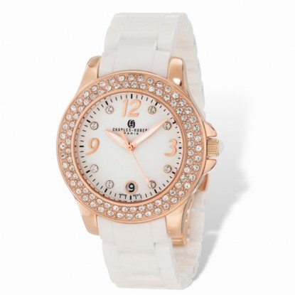 Ladies Charles Hubert White Ceramic 40mm Rose Gold Watch