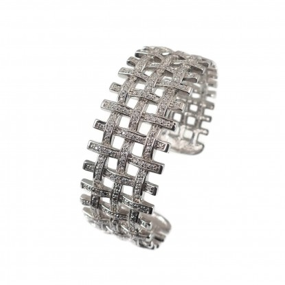 Open Basketweave Sterling Silver CZ Cuff Bangle Bracelet