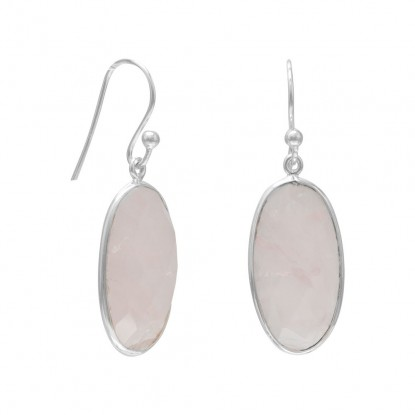 Oval Faceted Rose Quartz French Wire Earrings