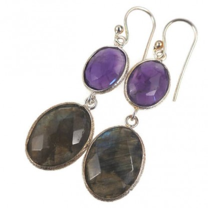 Freeform Amethyst and Labradorite Dangle Sterling Silver Earrings