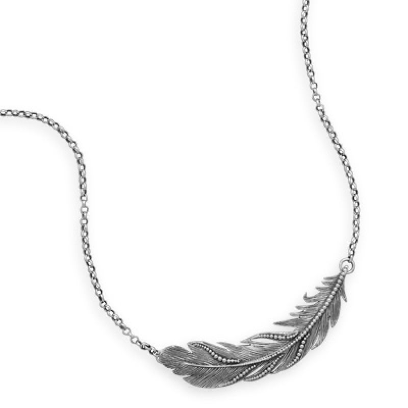 sterling silver sideways feather necklace
