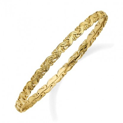 Textured Gold Braid Stackable Expressions Sterling Silver Bangle Bracelet