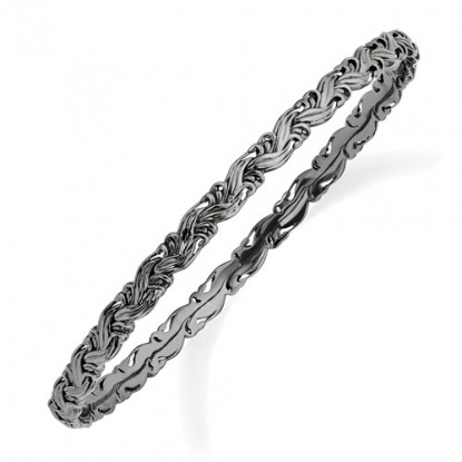 Textured Black Braid Stackable Expressions Sterling Silver Bangle Bracelet