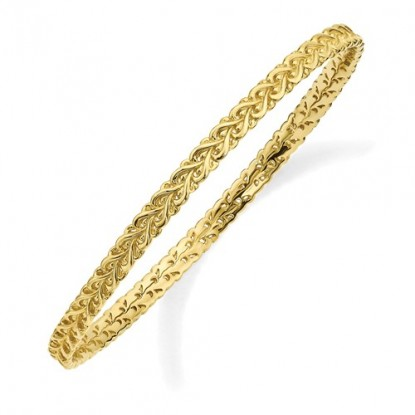 Fancy Gold Braid Stackable Expressions Sterling Silver Stacking Bangle Bracelet