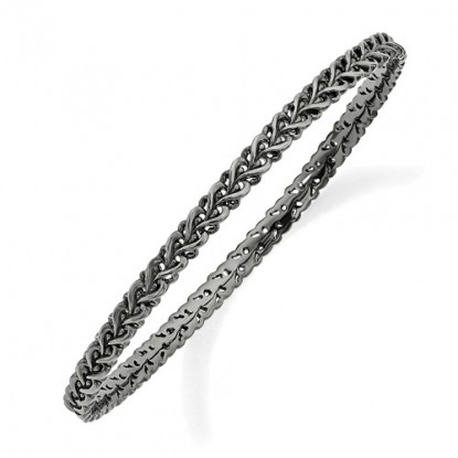 Fancy Black Braid Stackable Sterling Silver Stacking Bangle Bracelet