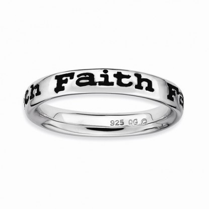 Enameled Stackable Expressions Sterling Silver Faith Ring