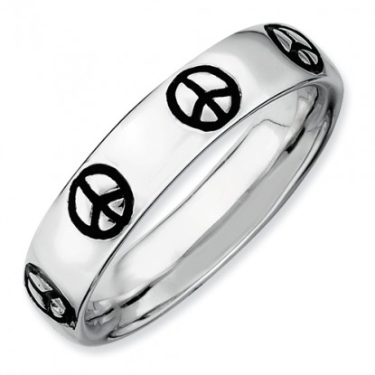 Enameled Peace Sign Sterling Silver Stackable Expressions Ring