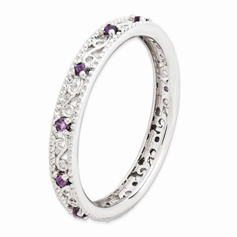 stackable expressions scroll sterling silver amethyst ring