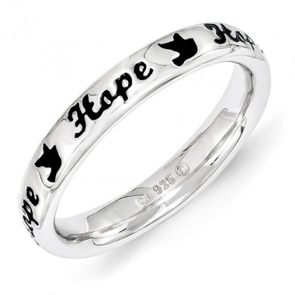 Hope Doves Enameled Sterling Silver Stackable Expressions Ring