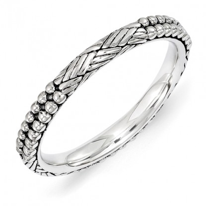 Antiqued Beads and Braids Sterling Silver Stackable Expressions Ring