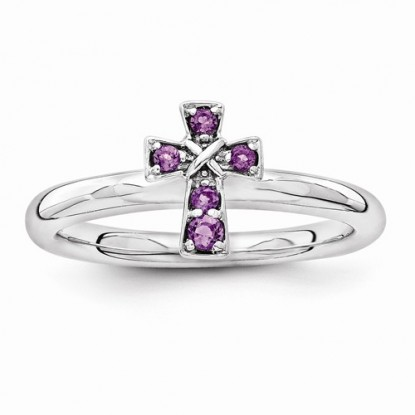 Amethyst Sterling Silver Stackable Expressions Cross Ring