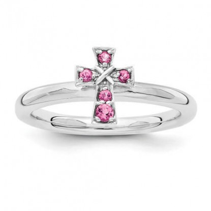 Pink Tourmaline Sterling Silver Stackable Expressions Cross Ring