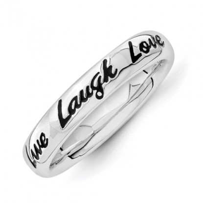 Live Laugh Love Enameled Sterling Silver Stackable Expressions Ring