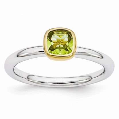 Stacking Peridot Sterling Silver Stackable Expressions Ring in Gold-Plated Bezel Setting
