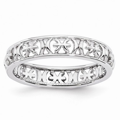 Pisces Stacking Sterling Silver Zodiac Ring - Stackable Expressions