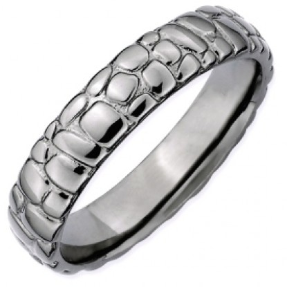 Black Cobblestone Sterling Silver Stackable Expressions Ring