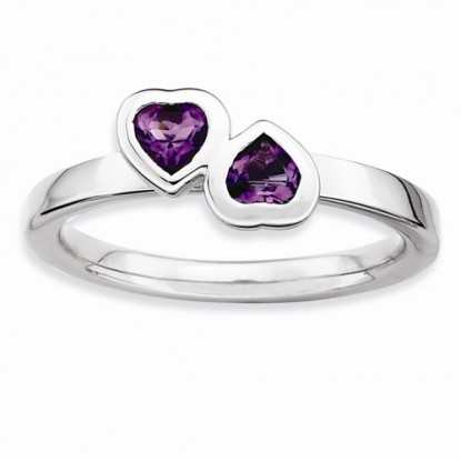 Double Amethyst Heart Sterling Silver Stackable Expressions Ring