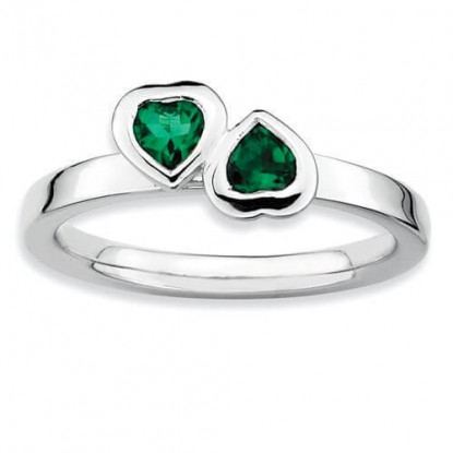 Double Emerald Heart Sterling Silver Stackable Expressions Ring