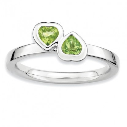 Double Peridot Heart Sterling Silver Stackable Expressions Ring