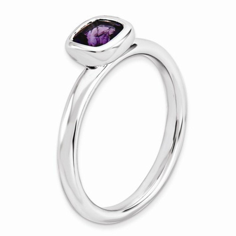 Cushion Cut Amethyst Sterling Silver Stackable Ring