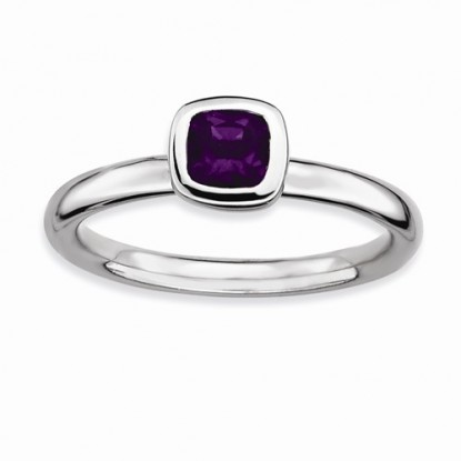 Amethyst Cushion Cut Stackable Expressions Sterling Silver Ring