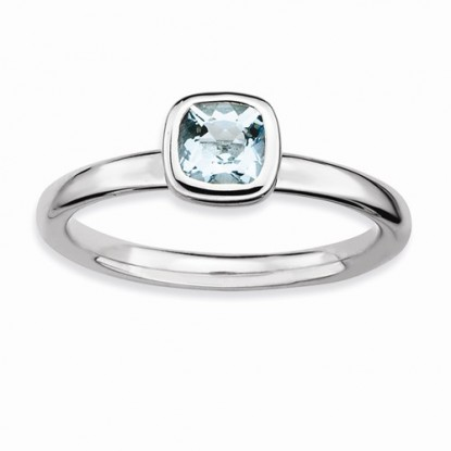 Aquamarine Cushion Cut Sterling Silver Stackable Expressions Ring