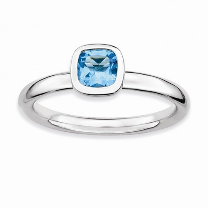 Cushion Cut Blue Topaz Sterling Silver Stackable Expressions Ring