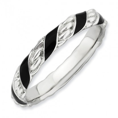 Black Spiral Enameled Sterling Silver Stackable Expressions Ring